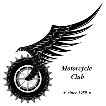 Vector image of a wheel with a wing. Moto wheel.