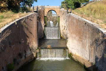 Locks of Canal de Castilla in Calahorra de Ribas, Palencia province, Spain