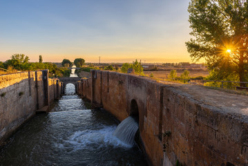 Locks of Canal de Castilla in Fromista, Palencia province, Spain