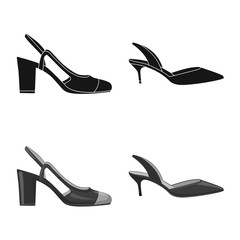 Vector design of footwear and woman sign. Set of footwear and foot stock symbol for web.