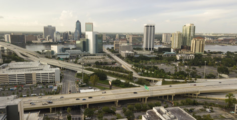 Aerial View Over Higwhays Downtown City Jacksonville Florida