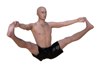 Bald man in black boxers practising the wide angle seated forward bend yoga pose. Horizontal 3d render isolated on white.
