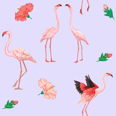 Printed roller blinds Flamingo Print