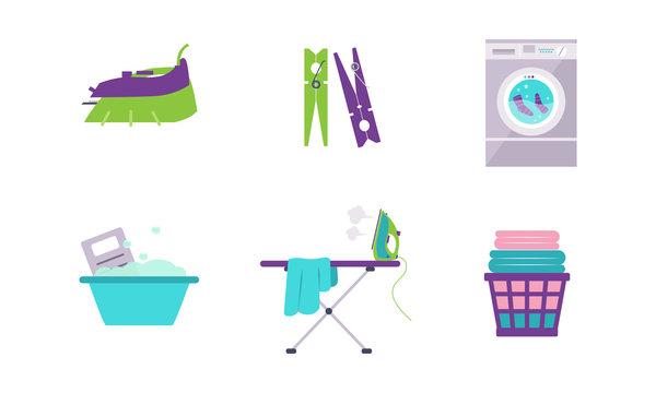 Laundry set, washing machine, basin, clothespin, iron, ironing board vector Illustration on a white background