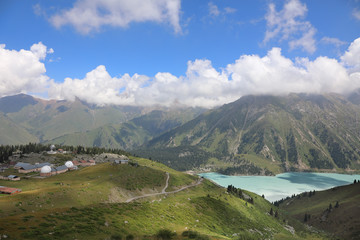 Landscape with Big Almaty lake and Tien Shan astronomical Observatory