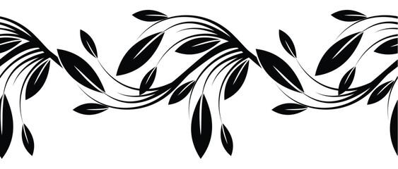 Seamless black and white ornamental border