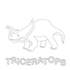 triceratops dinosaur  vector illustration  coloring book  profile