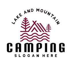 Hipster Mountain and Camping Logo Inspiration Vector