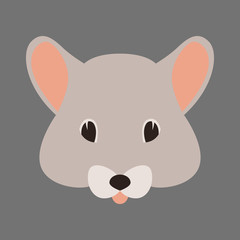 mouse face  vector illustration flat style front