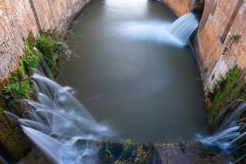 Poster Channel Locks of Canal de Castilla in Fromista, Palencia province, Spain