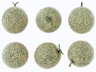 Set Melon , Melon slices isolated on white background.