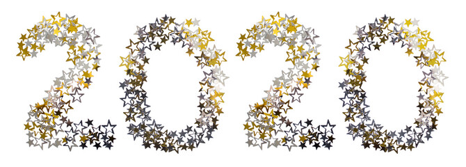 New Year 2020 concept. Text made of golden and silver star shaped confetti isolated on white background.