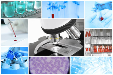 mix of equipment and medical with microscope at the blood laboratory