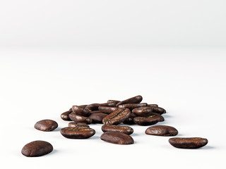 Spilled coffee grains on a white surface on a white background.
