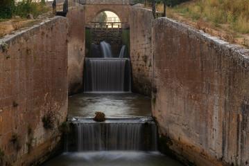 Locks of Canal de Castilla in Calahorra de Ribas, Palencia province, Spain