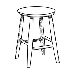 vector, isolated sketch of chair, round