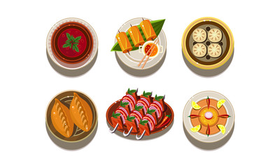 Flat vector set of plates with tasty Asian dishes. Traditional Chinese cuisine. Delicious food. Appetizing meal