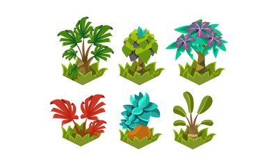 Flat vector set of cartoon fabulous plants. Nature landscape elements. Tropical trees. Design for fantasy mobile or computer game