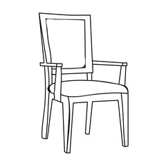 isolated sketch chair, contours on white background