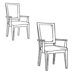 vector, isolated sketch of a chair on a white background
