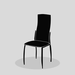 isolated silhouette chair, icon on gray background