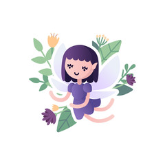 Vector little cartoon winged fairy, baby elf purple color, with floral background, isolated