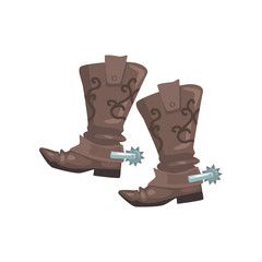 Pair of cowboy leather boots, symbol of the Wild West vector Illustration on a white background
