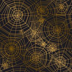 Minimal golden spider web seamless pattern