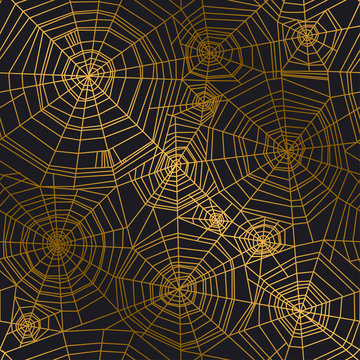 Minimal golden spider web seamless pattern