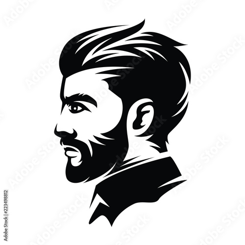 Barbershop Men Hairstyle Illustrations From The Side Stock Image