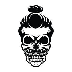 hand drawn skull with bun model hairstyle illustration