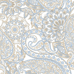 paisley floral vector illustration in damask style. seamless background