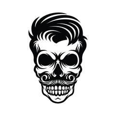 hand drawn skull hairstyle with mustache illustration