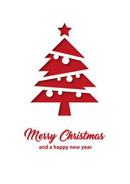 Grußkarte zu Weihnachten mit Merry Christmas und Happy new year