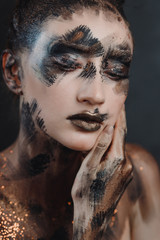 Foto op Canvas Body Paint Halloween make up. Portrait pale gothic daemon woman.