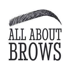 All About Brows. Text and eyebrow. Logo for brow bar