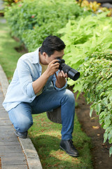 Young man photographing leaves and bushes in park