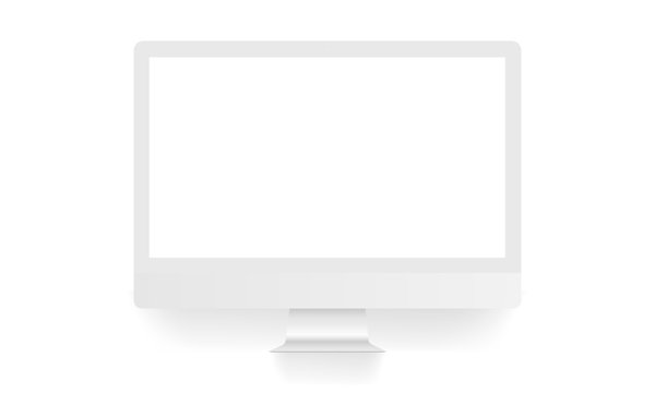Computer monitor clean mock up front view, isolated on white background. Vector illustration