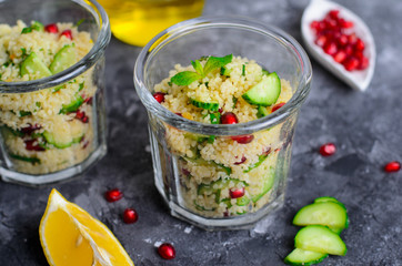 Couscous Salad in a Jar with Pomegranate, Mint and Cucumbers, Healthy Salad, Vegan Meal