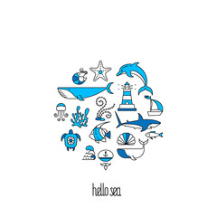 Character set nautical theme in the shape of circle. Object isolated white background.