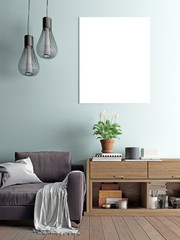 mock up poster in interior background, scandinavian style