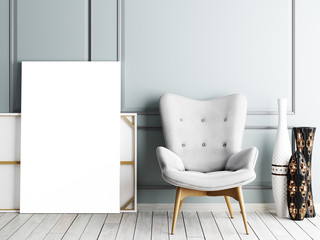 Blank poster, armchair in living room