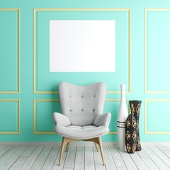 mock up poster frame in art interior background, scandinavian style