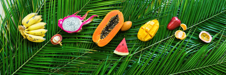 Different Tropical Fruits Raw Eating Diet Concept