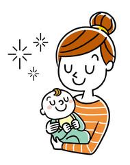 イラスト素材:赤ちゃんを抱っこする母親