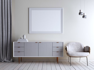 Mock up beige wall room chest and chair in interior. Scandinavian style interior.