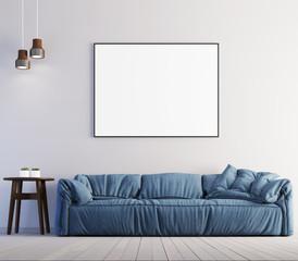 mock up poster frame in interior background, modern style, 3D render