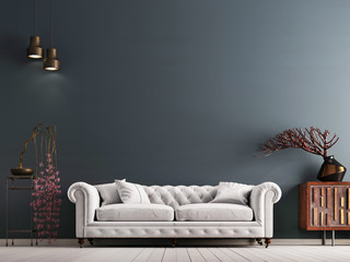 empty wall in classical style interior with white sofa on grey background wall.