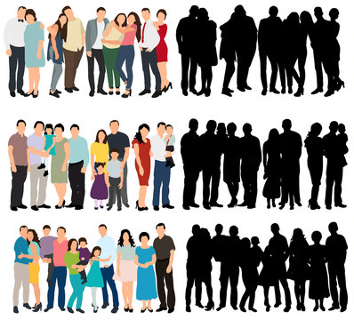 isolated, silhouette of a crowd, group of people, flat style