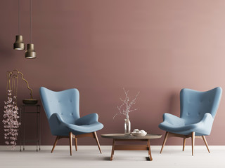Empty wall in pastel modern interior with burgundy wall, soft armchairs, plant and lamps.